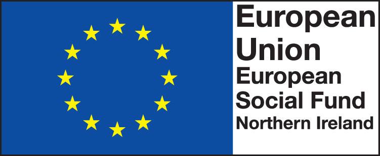 "European Social Fund Northern Ireland logo containing text ""European Union, European Social Fund, Northern Ireland"""