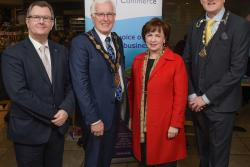 Pictured at the event are (left to right) Sir Jeffrey Donaldson, Mayor of Lisburn and Castlereagh City Council Alan Givan, Minister and President of the Lisburn Chamber of Commerce Garry MacDonald.