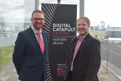 Economy Minister Simon Hamilton is joined by Head of Digital Catapult NI Tom Gray at the official launch of the inaugural NI Digital Catapult Work Programme.