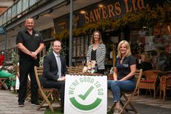 Pictured Left to right: Kieran Sloan, owner Sawers, Economy Minister Gordon Lyons, Cathy McCormick, Tourism NI and Caroline Wilson Founder Taste and Tour
