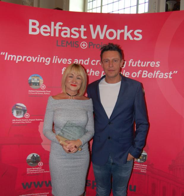 L to R: Jenny McDonagh with award presenter, Stephen Clements
