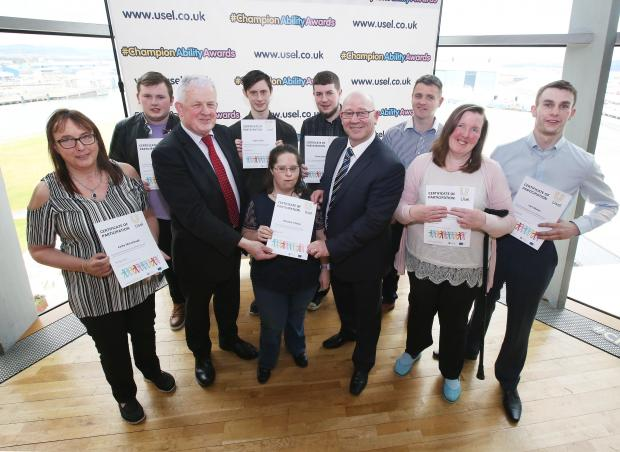 Brian McVey (DfE) and Bill Atkinson (CEO of Usel) with STRIDE participant winners
