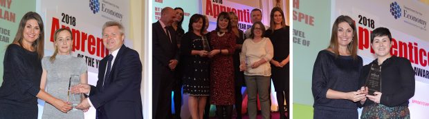 (l to r): Sarah Travers with Apprentice of the Year, Tammy Whelan, and DfE Permanent Secretary, Noel Lavery, representatives from Employer Innovation award winners, Sarah Travers with Higher Level Apprentice winner Sarah Gillespie