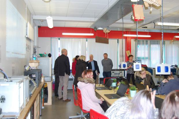 EU Funders are pictured meeting people during a visit  to Ashton Community Trust Fablab