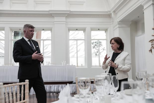 Economy Minister Diane Dodds pictured with Adrian McNally, General Manager, during a visit to Titanic Hotel Belfast to view preparations for re-opening