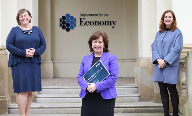 Dr Joanne Stuart, CEO, NITA and Angela McGowan, Director, CBI with Economy Minister at launch of Economic Recovery Action Plan.