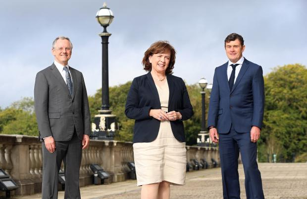 Pictured with Economy Minister Diane Dodds are (from left to right) Kevin Holland (CEO of Invest NI) and Aidan Gough (Designated Accounting Officer and Director of Strategy and Policy at InterTradeIreland)