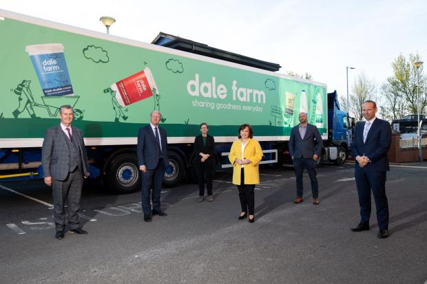 (L-R) Agriculture Minister Edwin Poots, Sir Peter Kendall, Chair of Independent Strategic Review of NI Agri-Food Sector, Review team member Julie Robinson, Economy Minister Diane Dodds, Dr Jonathan Bernie Review team member and Nick Whelan,Chair of NIFDA