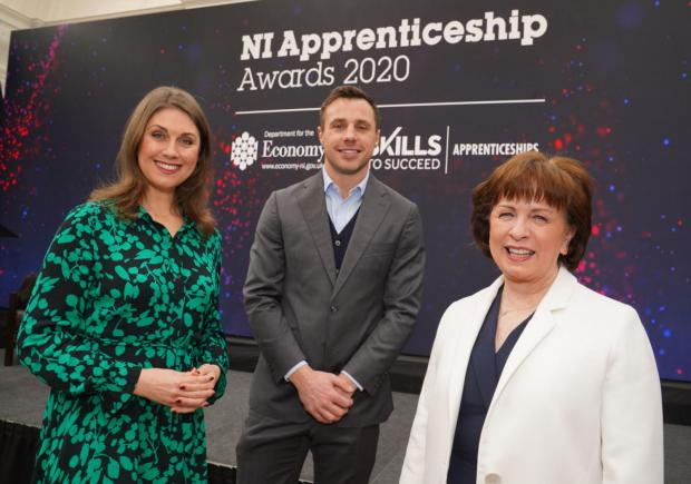 Pictured at #NIAW2020 NI Apprenticeship Awards in Belfast are event compere Sarah Travers, rugby star Tommy Bowe and Economy Minister Diane Dodds