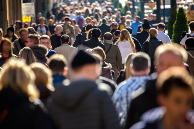 Stock image of a crowd of people