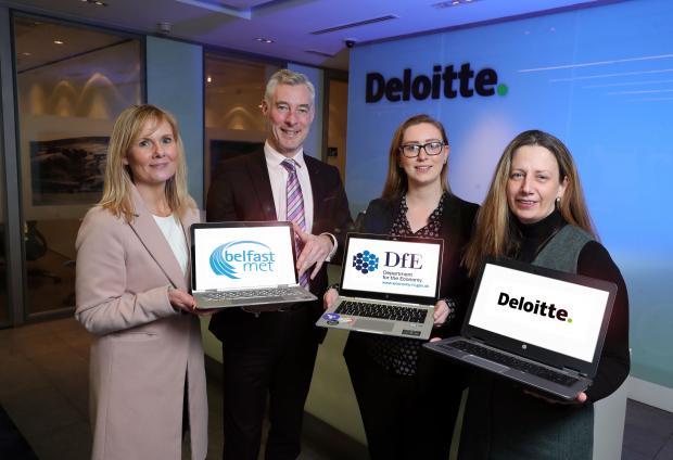 Siobhan Lyons, Head of Economic Development, Belfast Met; Graeme Wilkinson, Director of Skills, DfE; Deborah Campbell, Data Analyst at Deloitte & previous Assured Skills Academy graduate; Karen Butler, Head of Talent, Deloitte NI