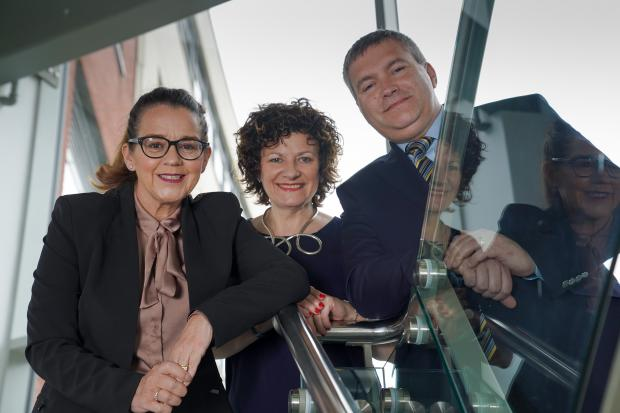 (l to r): Jackie Henry, Deloitte, Anne Williamson, DfE, and Dr Jonathan Heggarty, Belfast Met