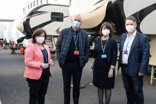 Photo caption: Economy Minister Diane Dodds; Stephen Jones, Producer, 'The School for Good and Evil'' Rotha Johnston, Chair, Northern Ireland Screen; andRichard Williams, CEO, Northern Ireland Screen.