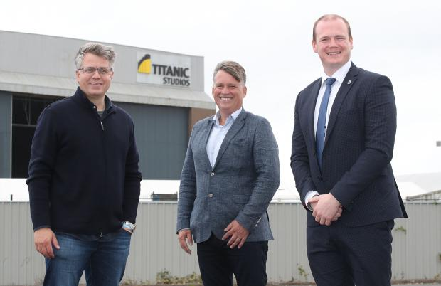 Economy MinisterGordon Lyons (right) visited Titanic Studios where he met (from left) the film's producer, Jeremy Latcham and NI Screen Chief Executive, Richard Williams.