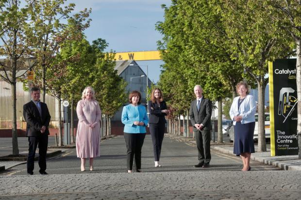 Steve Orr, Catalyst; Kirsty McManus, IoD; Economy Minister Diane Dodds; Dr Jayne Brady MBE, Belfast Digital Innovation Commissioner; Michael Ryan, Spirit AeroSystems Belfast; and Dr Joanne Stuart OBE, CEO of Northern Ireland Tourism Alliance.