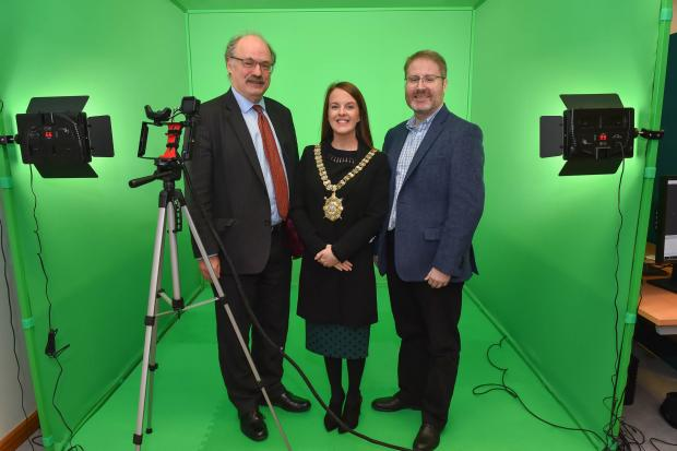 Pictured at the launch of Digital Catapult's new Immersive Lab are (l-r) CEO-designate of UK Research and Innovation Sir Mark Walport, Lord Mayor Nuala McAllister and Head of Digital Catapult NI Tom Gray.
