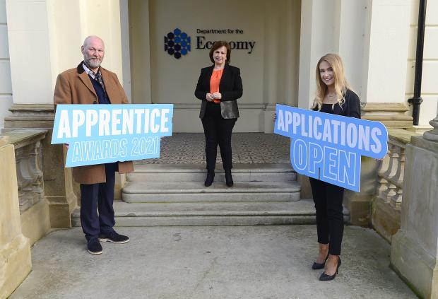 Pictured with Economy Minister Diane Dodds launching the NI Apprenticeship Awards 2021 are Will Bradley and Colleen O'Boyle, joint winners of Higher Level Apprentice of the Year 2020