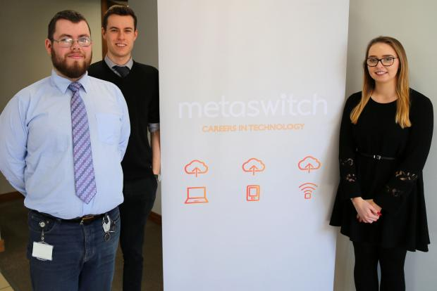 Aaron Hickey, Sam Wright and Aoibheann McAleer are among the 90% of previous participants of the Metaswitch Assured Skills Academy who have gone onto secure full-time employment with the company