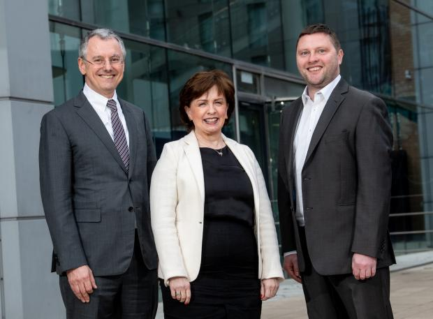 Pictured in Belfast are (l-r) Kevin Holland, CEO of Invest NI, Economy Minister Diane Dodds and Darren Dillon of Microsoft.