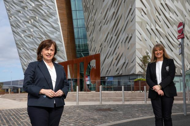 Economy Minister Diane Dodds with Titanic Belfast's CEO Judith Owens.