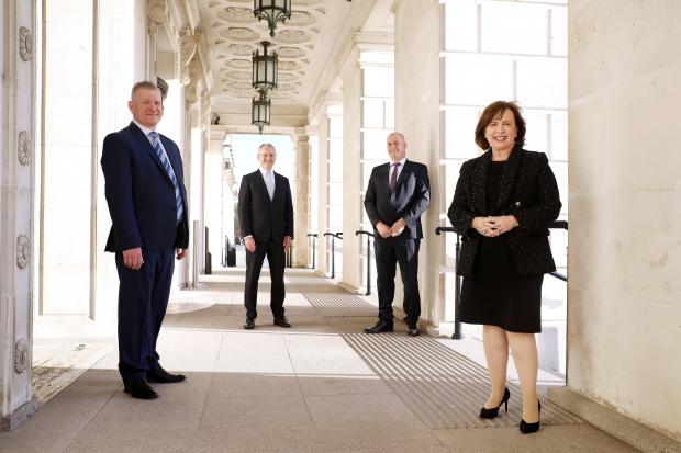 Clive Gilpin, Crust and Crumb, Kevin Holland, CEO, Invest NI, Crust and Crumb's Mark McCaffrey and Economy Minister Diane Dodds