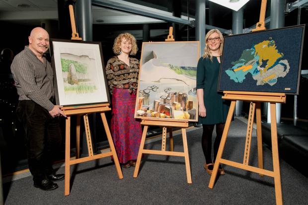 (l to r) Artists Hugh Crilly, Anna Crilly and Jane Hunter