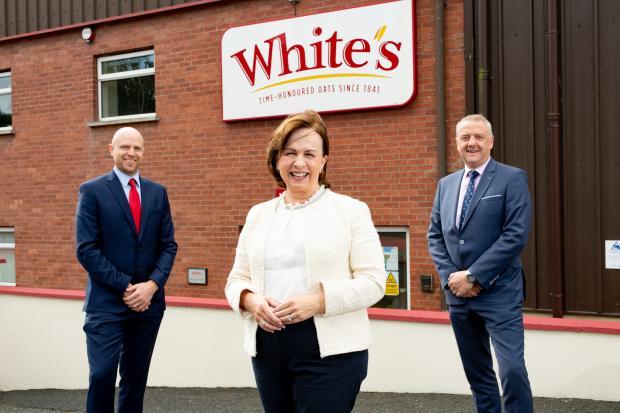 left to right: James Mathers of Whites Oats, Economy Minister Diane Dodds, Trevor Lockhart of Fane Valley