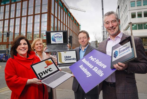 (L to R) Claire McNally, PwC's Head of Capability and Development, Siobhan Lyons, Head of Economic Development at BMC, Stephen McNamee, Course Director, Graduate Diploma in Accounting at Ulster University and Graeme Wilkinson, DfE Head of Skills