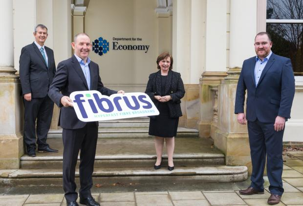 Pictured left to right are DAERA Minister Edwin Poots, FibrusChairConal Henry, Economy Minister Diane Dodds and Dominic Kearns, Fibrus CEO