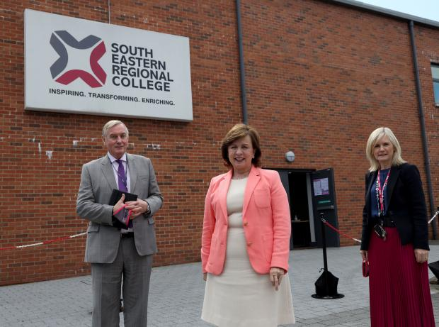 Economy Minister Diane Dodds (centre) pictured with SERC Principal and Chief Executive Ken Webband Heather McKee, Directorof Strategic Planning, Quality and Support at SERC
