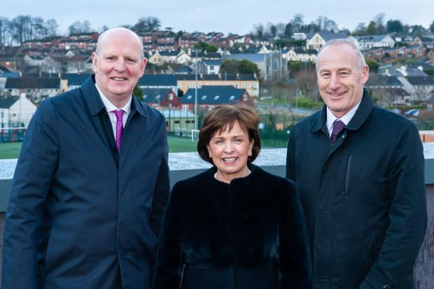 L-R Brian Doran (Chief Executive, Southern Regional College), Minister Diane Dodds (Department for the Economy), Martin Lennon (Managing Director, O'Hare & McGovern)