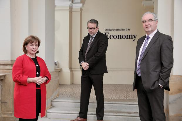 Diane Dodds pictured with (centre) Andrew McCracken, Finance Director at Crumlin-based social enterprise Transport Training Services, and Colin Jess, Director of Social Enterprise NI.