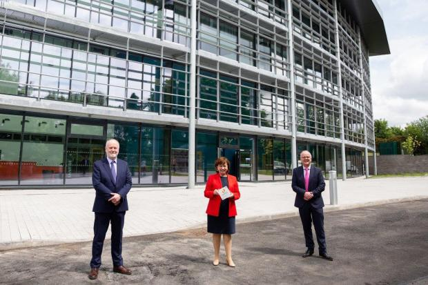 SWCChief Executive and Principal Michael McAlister,Economy Minister Diane Dodds and TomásO'Leary, Managing Director of MosArt Architects