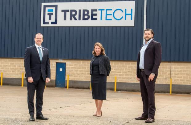 Photographed with the Minister are Charlie King, Managing Director of Tribe Technology and Anne Beggs, Director of Trade and Investment for Invest NI.