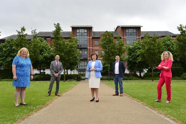 Lorna McAdoo, Version 1; George McKinney, Invest NI; Economy Minister Diane Dodds; Brian Pollock, Version 1; Louise Warde Hunter, Belfast Met
