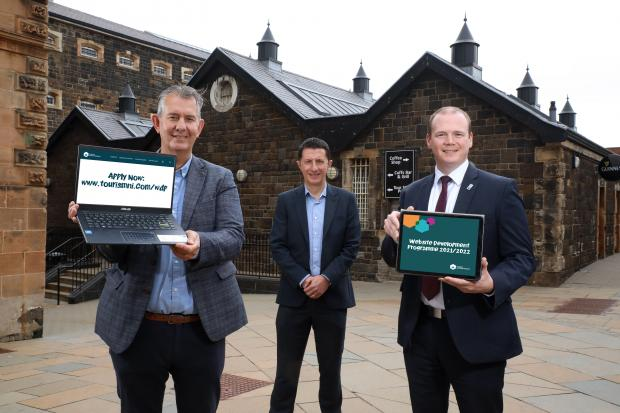 Agriculture Minister Edwin Poots, David Roberts, Director of Strategic Development at Tourism NI and Economy Minister Gordon Lyons.