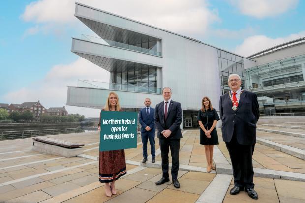 Left to right: Eimear Callaghan, Tourism NI, Odhran Dunne, CEO Visit Derry, Economy Minister Gordon Lyons, Rachael McGuickin, Visit Belfast, Alderman Tom Haire, Belfast City Council