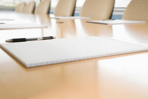 Photograph of a boardroom table