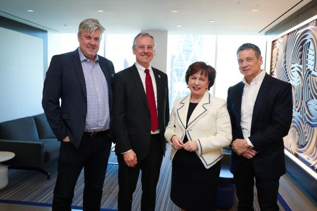 Pictured with the Minister in New York in March this year are (from left) Gavan Corr (Managing Partner, Qarik), Kevin Holland (Invest NI) and Joe Schenk (Managing Partner, Qarik)