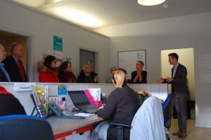 EU Funders are pictured visiting Ashton Community Trust's Employment and Training Services office