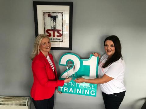 Heather Cole (l, DfE) with Debbie Deans of 21 Training (formerly Strabane Training Services) finalists in SME Award in partnership with Specialist Joinery Group