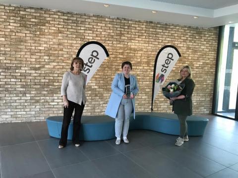 Chantelle McDonagh, winner of Apprentice Award 2021 with  An Tearmann (STEP) (Joanne Dougan) and Coalisland Training Services Ltd (Eileen McGee)