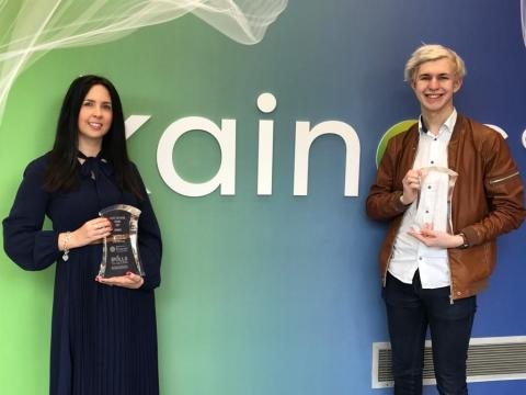 James Matchett, HLA winner, with colleague Debbie McQuillan of Kainos, winners of the Large Employer Award